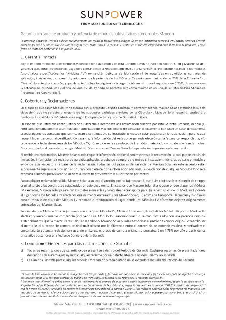 Garantía de producto y potencia de módulos fotovoltaicos comerciales MAXEON