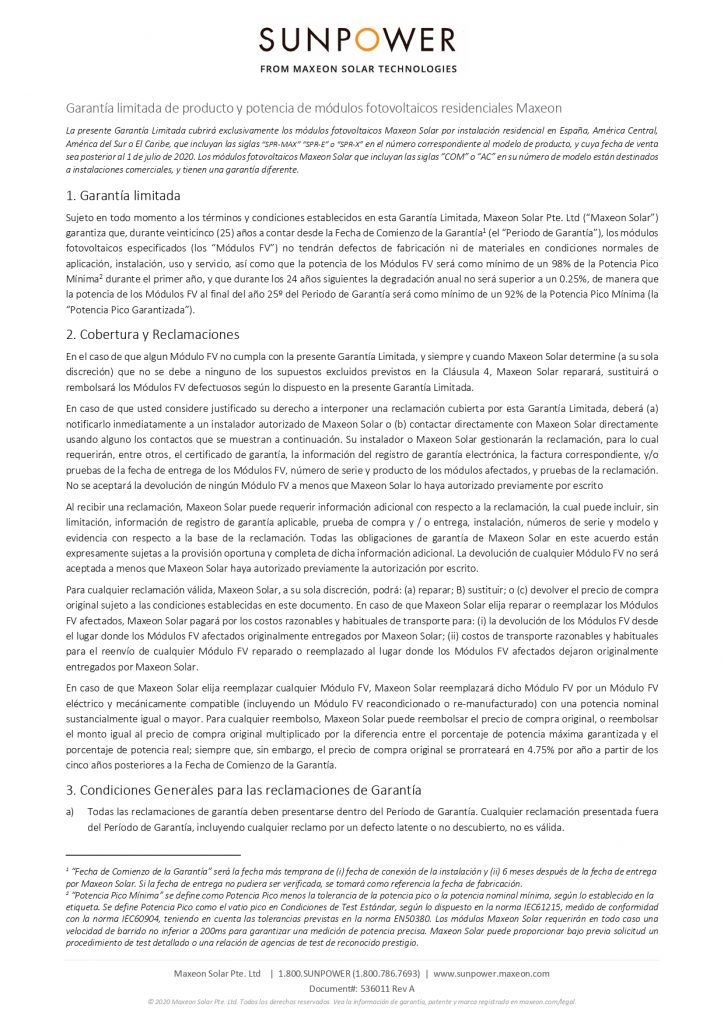 Garantía de producto y potencia de módulos fotovoltaicos residenciales MAXEON