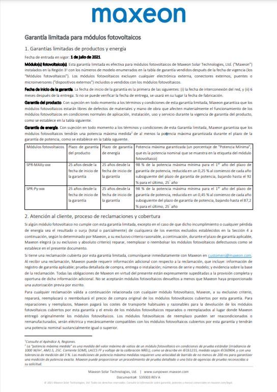 Garantía módulos fotovoltaicos